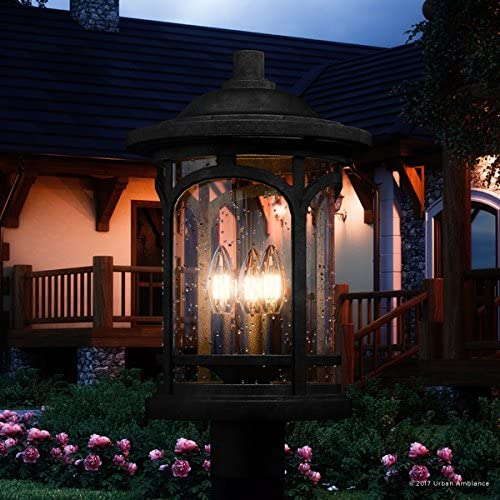 Luxury Rustic Outdoor Post Light, Medium Size 19 H x 11 W, with Colonial Style Elements, Wrought Iron Design, High-End Black Silk Finish and Seeded Glass, UQL1106 by Urban Ambiance