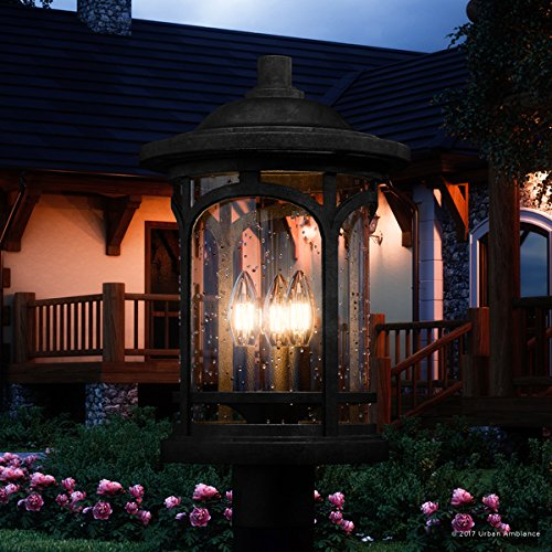 Luxury Rustic Outdoor Post Light, Medium Size: 19''H x 11''W, with Colonial Style Elements, Wrought Iron Design, High-End Black Silk Finish and Seeded Glass, UQL1106 by Urban Ambiance by Urban Ambiance