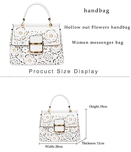 mujeres flores Bolso White lujo hombro Pu Out de Ladies alta de las bolso negro Bags bolsos calidad 2018 de cuero moda Women de bandolera Hollow Summer de de SSMENG 40dq4