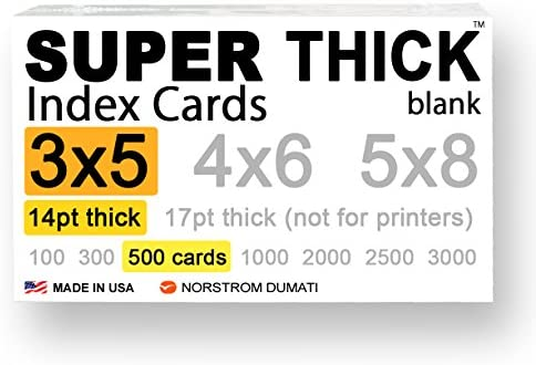 "500 SUPER THICK index cards / 3""x5"" / 14pt (0.014"") 100lb / blank un-ruled / 97 white/note-cards post-cards flash-cards/extra heavy-weight duty, acid-free, 3 X 5 card stock in bulk"