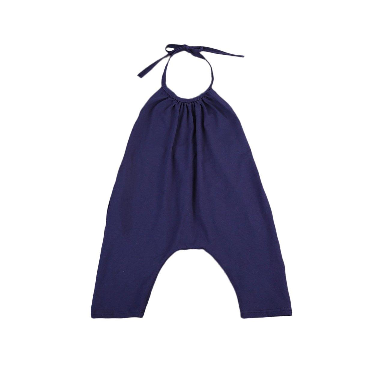 1-6T Toddler Kids Strap Romper Baby Girls Backless Harem Pants Summer Jumpsuit (1-2 T, Deep Blue)