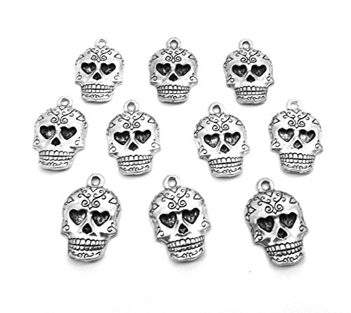 Set of Ten (10) Pewter Sugar Skull Charms 5178