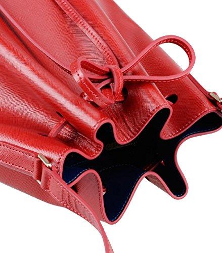 in Red Bucket Purden leather Genuine pattern Bag Fashion Cross Melkco zFIq47aF