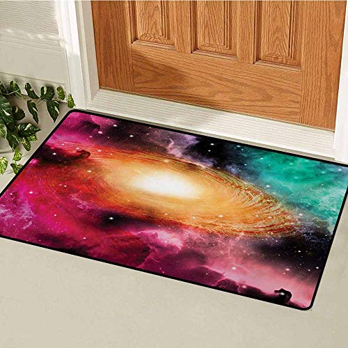 Zodiac Commercial Grade Entrance mat Colorful Astronomy Pictures of A Spiral Galaxy Stars Stardust and Cosmos for entrances garages patios W15.7 x L23.6 Inch Pink Orange Green
