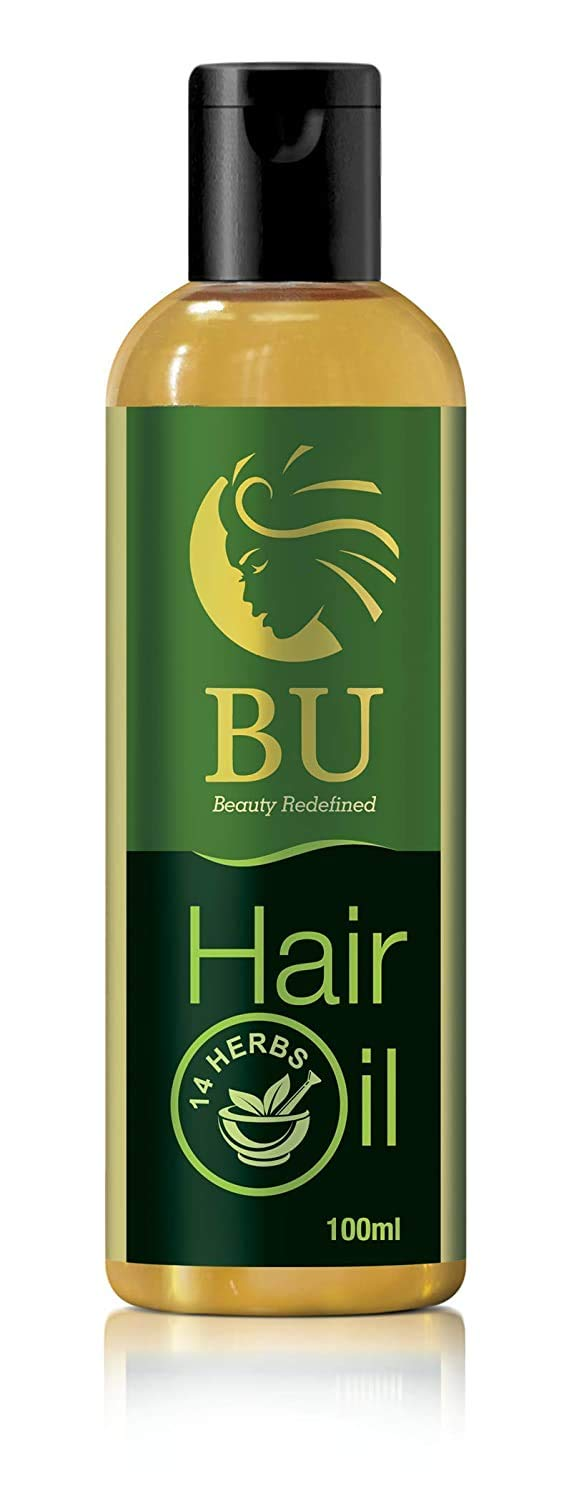 BU Healthcare All in One 100% Herbal&Organic Anti-Greying/Dandruff/Hair Fall Control Oil with Amla, Almond, Bhringraj and Coconut Goodness (14 Herbs,100ml)