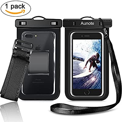 Waterproof Phone Case Aunote Universal Dry Bag Pouch With Lanyard Armband Men/Women Best carrying case For Apple iPhone Samsung Galaxy Any Cell Phone Holder from Aunote