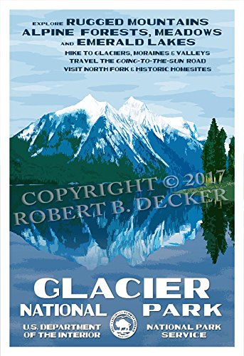 Glacier National Park Poster - Original Artwork by Rob Decker - Wpa Style