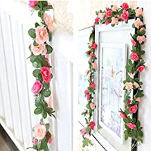 Leeyifan 8.2 Ft Fake Rose Vine Flowers Plants Artificial Flower Home Hotel Office Wedding Party Garden Craft Art Decor Pack of 2 Pink