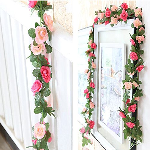 Floral Pink Vine (Leeyifan 8.2 Ft Fake Rose Vine Flowers Plants Artificial Flower Home Hotel Office Wedding Party Garden Craft Art Decor Pack of 2 Pink)