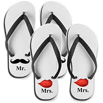 4643d2f1fc2ee Image Unavailable. Image not available for. Color  Set of Marriage Flip  Flops Sandals Mr Mrs Lips N Mustache Gift for Couples