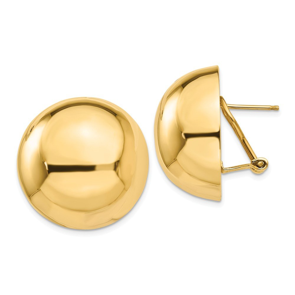14K Yellow Gold Omega Clip 24mm Half Ball Earrings ~ from Roy Rose Jewelry