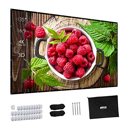 Projector Screen, Upgraded 135 inch 4K 16:9 HD Portable Projector Screen, Premium Indoor Outdoor Movie Screen Anti-Crease Projection Screen for Home Theater Backyard Movie. (Projector Screens Fixed)