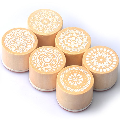 Hot Energy 6pcs Round Wooden Assorted Retro Vintage Floral Pattern Rubber Stamp Scrapbook