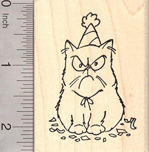Birthday Grumpy Cat Rubber Stamp, in Party Hat by RubberHedgehog