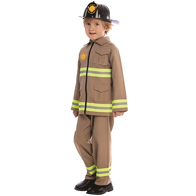 Baby Fire Fighter Helmet Uniform/Costume Set for Kids Fireman w/Walkie Talk/Badge