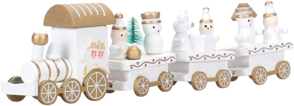VORCOOL Wooden Christmas Train with Snowman, Mini Train Decor Set for Christmas Party Kids Gift Home Decoration