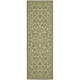 Safavieh Courtyard Collection CY2098-1E06 Olive and Natural Indoor/ Outdoor Runner (2\'3\