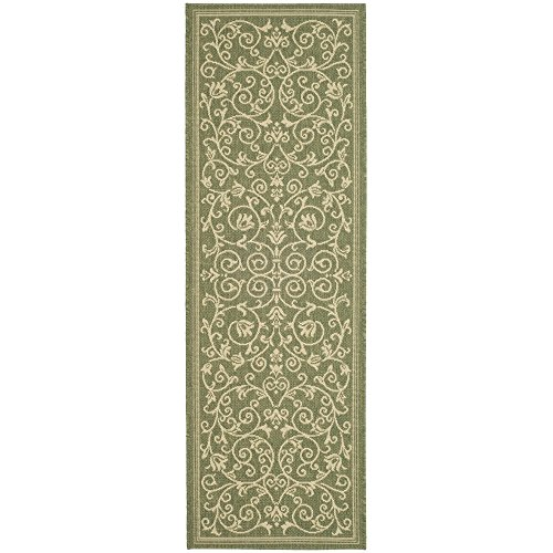 Safavieh Courtyard Collection CY2098-1E06 Olive and Natural Indoor/Outdoor Runner (2'3
