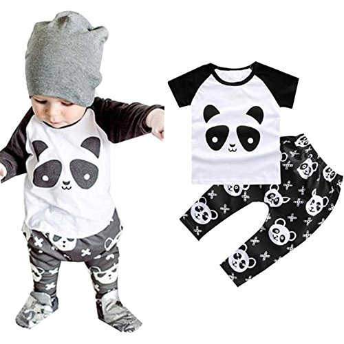 [2pcs Baby Boys Gorls Outfit, Buedvo Short Sleeve Panda Print Shirt+ Panda Cross Print Pants (6-12Months,] (Panda Outfits For Babies)