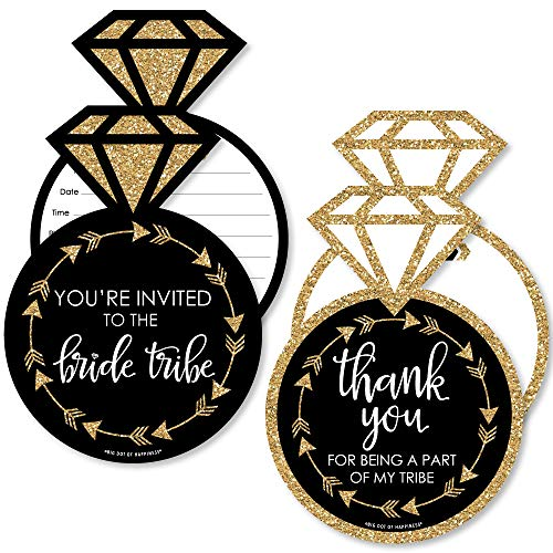 Bride Tribe - 20 Shaped Fill-In Invitations and 20 Shaped Thank You Cards Kit - Bridal Shower or Bachelorette Party Stationery Kit - 40 Pack