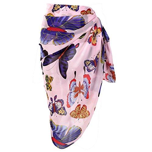 CHIC DIARY Women's Chiffon Print Floral Scarf Beach Sarong Pareo Bikini Wrap Cover Up (Purple Floral Bikini)