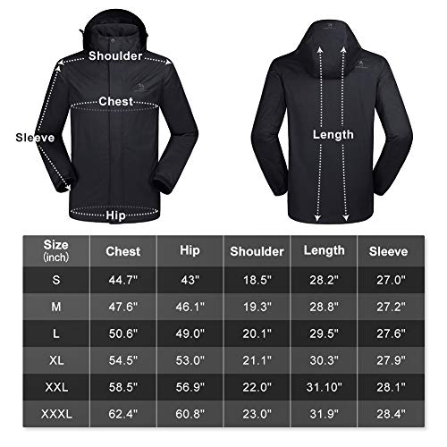 47ad3535e3252 CAMEL CROWN Mens Waterproof Jacket Hooded Windbreaker Windproof Rain Coat  Shell for Outdoor Hiking Climbing Traveling