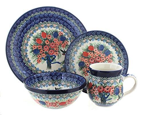 Polish Pottery Blush Bouquet 16 Piece Dinner Set
