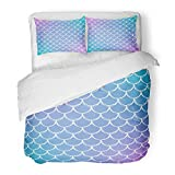 Emvency Bedding Duvet Cover Set Twin (1 Duvet Cover + 1 Pillowcase) Mermaid Scale On Gradient with Bright Color Transitions Fish Tail and Underwater Sea Hotel Quality Wrinkle and Stain Resistant