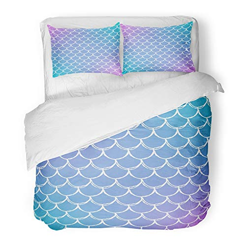 Emvency Bedding Duvet Cover Set King Size (1 Duvet Cover + 2 Pillowcase) Mermaid Scale On Gradient with Bright Color Transitions Fish Tail and Underwater Sea Hotel Quality - Comforter Set Celebrity