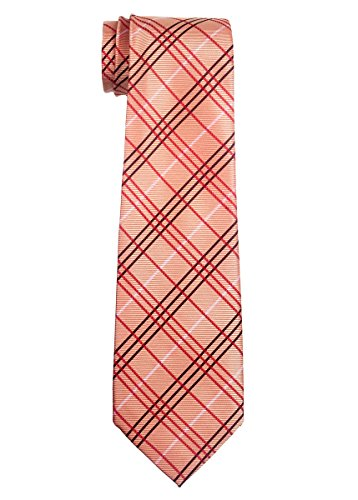 (Retreez Tartan Plaid Styles Woven Boy's Tie (8-10 years) - Orange)