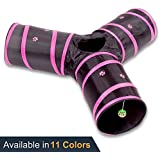 Prosper Pet Cat Tunnel - Collapsible 3 Way Play Toy - Interactive Tube Toys for Rabbits, Kittens, and Dogs - Black/Pink