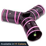 Prosper Pet Cat Tunnel - Collapsible 3 Way Play Toy - Interactive Tube Toys for Rabbits - Kittens - and Dogs - Black Pink