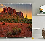 Ambesonne Saguaro Cactus Decor Collection, Colorful Sunset View of the Desert and Mountains near Phoenix Arizona USA Image, Polyester Fabric Bathroom Shower Curtain Set with Hooks, Brown Green