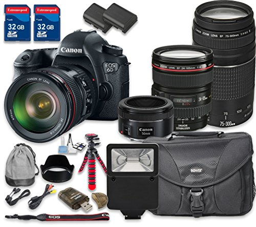 Canon-EOS-6D-Digital-SLR-Camera-with-Canon-EF-24-105mm-f4L-IS-USM-Lens-Canon-EF-75-300mm-f4-56-III-Lens-Canon-EF-50mm-f18-STM-Lens-International-Model