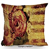 FashSam Decorative Throw Pillow Cover Vintage Background with Piano Keyboard and Grand Majestic Rose Melodic Love Art Theme for Pillow Cover for Living Room(14' Wx14 L)