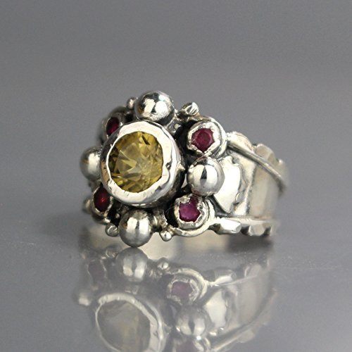 Vintage Style Designer Handcrafted Sterling Silver Statement Ring Set w/Genuine Citrine Ruby Gemstone Alternative Engagement Ring