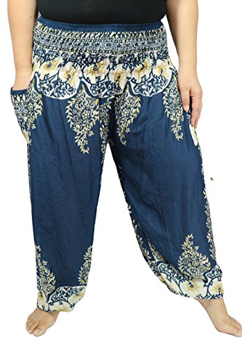 Lovely Creations Women's Yoga Pants Boho Hippie Plus Size Jumbo Pants Smocked Waist 26-54 Inches (AG Ocean blue B) - Coral Goddess Sexy Costumes