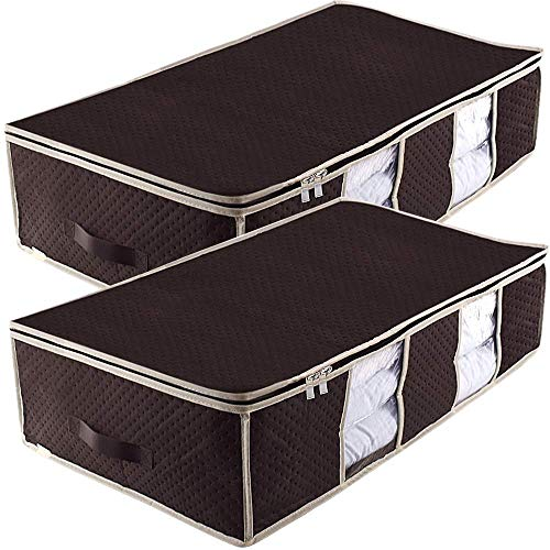 Underbed Storage Bag Containers,Breathable Blanket Clothes Organizer Bins for Comforter Quilt,Tidy Up Your Closet,Shelves,with Clear Window and Metal Zippers,2 Sturdy Leather Handles,Set of 2 Brown - Large Underbed Storage
