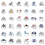(US) Cren 20pcs Children Kids Girls Crystal Adjustable Rings With Cute Animals