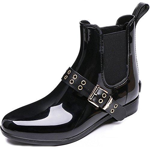 Rain Ankle Ons Booties TONGPU Fashion Slip Boots Gold Women's Buckle YqqRUwE
