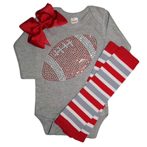 FanGarb Baby Girl's Grey & red Football Team Colored Rhinestone Grey Outfit 0-3mo ()