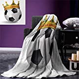 smallbeefly King Digital Printing Blanket Football Soccer Sports Championship Inspired Ball Crown Ornaments Image Print Summer Quilt Comforter 80''x60'' Multicolor