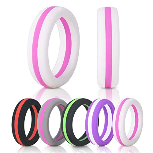 Cheap Hoople Women 5-Pack Tricolor Style Silicone Ring, Replacement Wedding Ring and Exercise Bands, Premium Medical Grade 100% Skin Safe and Antibacterial, Outdoor Activities, Sports, Gym (6)