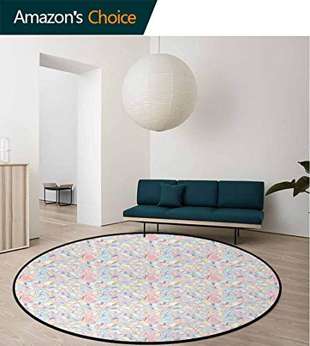 Diamonds Computer Chair Floor Mat,Pastel Color Baguette Square And Oval Shapes Feminine Design Star Filled Backdrop Printed Round Carpet For Children Bedroom Play Tent Diameter-24 Inch,Multicolor