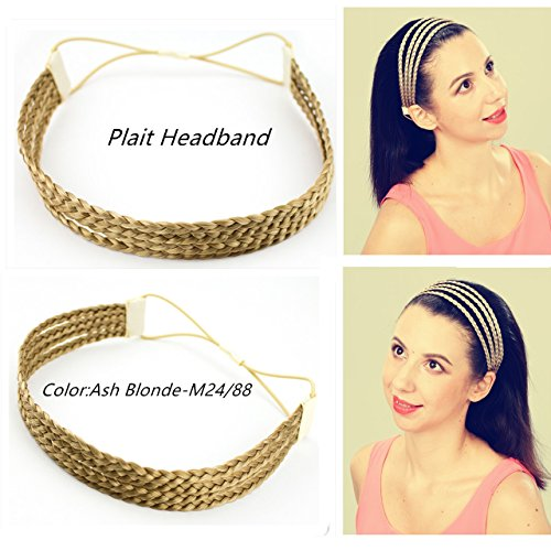 merrylight Elastic Stretch Scrunchie Srunchy 4 Thin Braids Headband Plaited Synthetic Braid Hair Band Hair Piece (Ash (4 Braid Band)