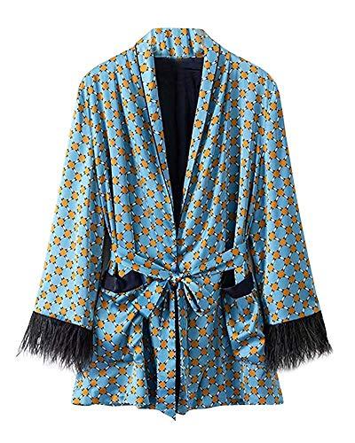 Femmes Un Veste coloré M Bleu Taille Cardigan Bleu Motif Géométrique À Pour Longues Oudan Convient Manches Manteau Blazer nS0w1Pq0g