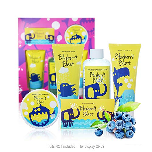 Portable Gift Set - Green Canyon Spa Bath and Body Spa Gift Set for Kids Youth in Blueberry Blast – 5 Pcs Premium Gift sets in Portable Box for Holiday Birthday Back-to-School Gift