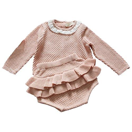 - Wennikids Baby Girls Long-Sleeved Cadigan Sweater and Ruffle Bloomer Shorts Clothing Set X-Large Pink