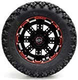 Golf Cart 12'' Madjax MJFX ''Transformer'' Red and Black Wheel and 23 x 10.5-12 Golf Cart (6-PLY) ''X-Trail'' All Terrain Tire Combo- - Set of 4