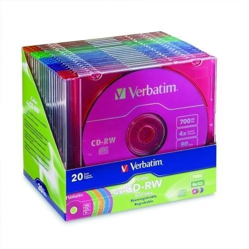 VER94300 - Verbatim CD-RW 700MB 2X-4X DataLifePlus with Color Branded Surface and Matching Case - 20pk Slim Case, Assorted by Verbatim